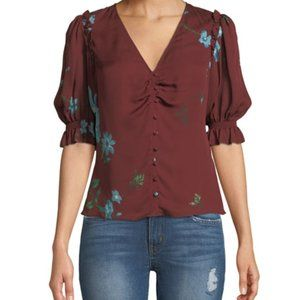 Joie Anevy Floral Silk Button-Front Ruffle Top XS